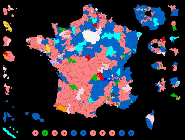 Couleur politique des circonscriptions au soir du 2ème tour des législatives 2012 - Auteur : Superbenjamin - Cette œuvre est publiée selon les termes de l'Open Database License.