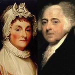 Portrait d'Abigail Adams par Gilbert Stuart (1755-1828) and de John Adams par Asher Durand (1796-1886)