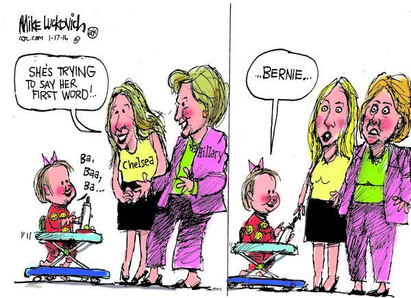 Hillary Bernie Chelsea Baby - Dessin de Mick Luckovich, Creators Syndicate.