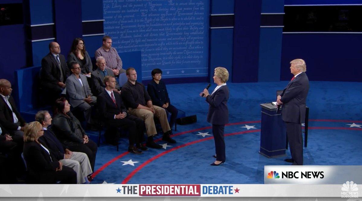 Trump et Clinton lors du second débat