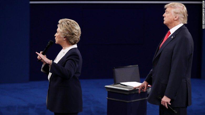 Trump et Clinton lors de leur deuxième débat