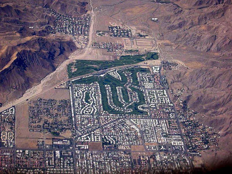 Vue aérienne du Canyon Country Club de Palm Springs