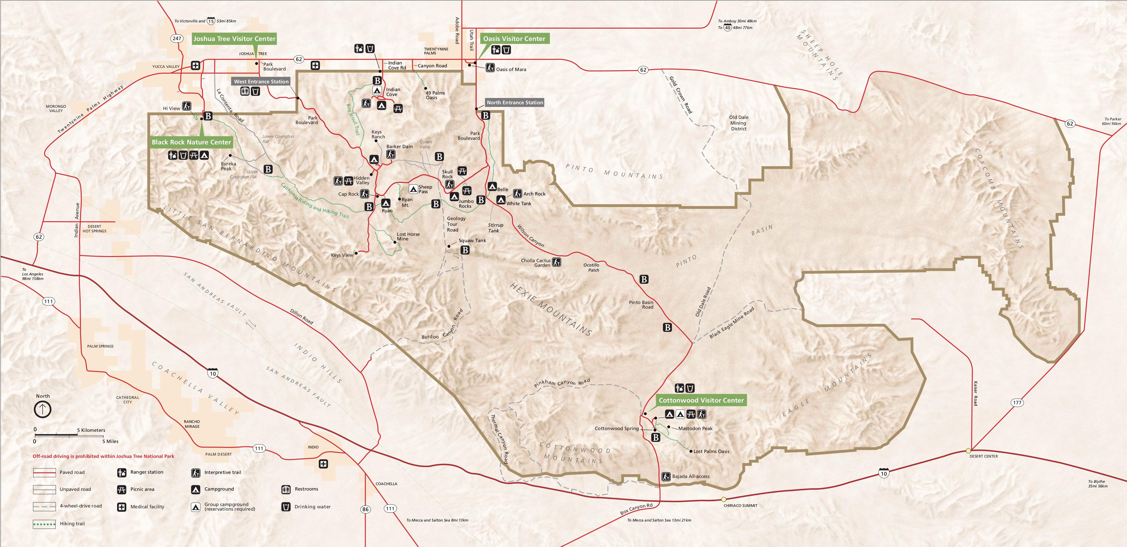 Carte du parc Joshua Tree