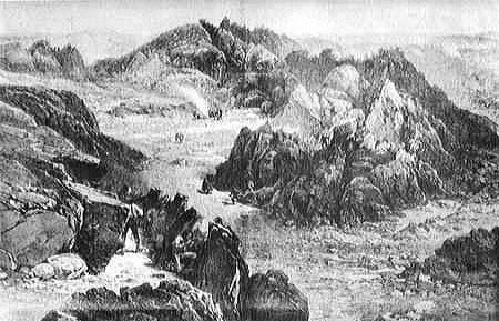 Dessin de 1873 de William Simpson représentant des Modocs luttant dans la « Forteresse du Captain Jack » de Lava Beds