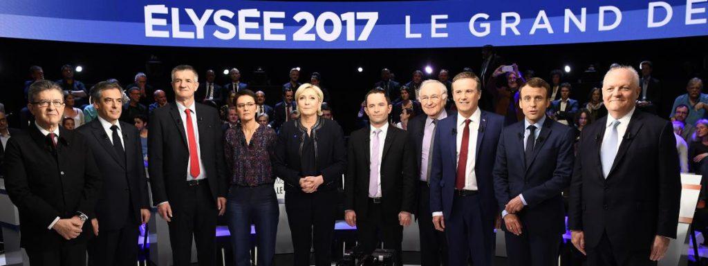 Les participants au grand débat, moins Philippe Poutou qui a refusé de participer à la photo.