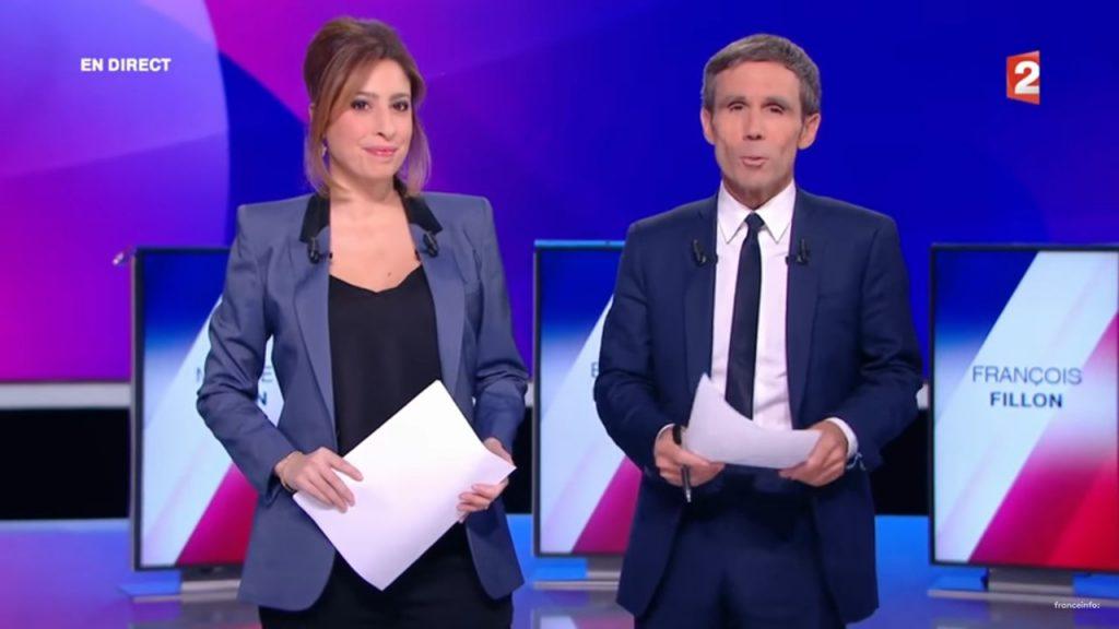 """Léa Salamé et David Pujadas lors de l'émission """"15 minutes pour convaincre"""" le 20 avril 2017 sur France 2 (Capture d'écran)"""