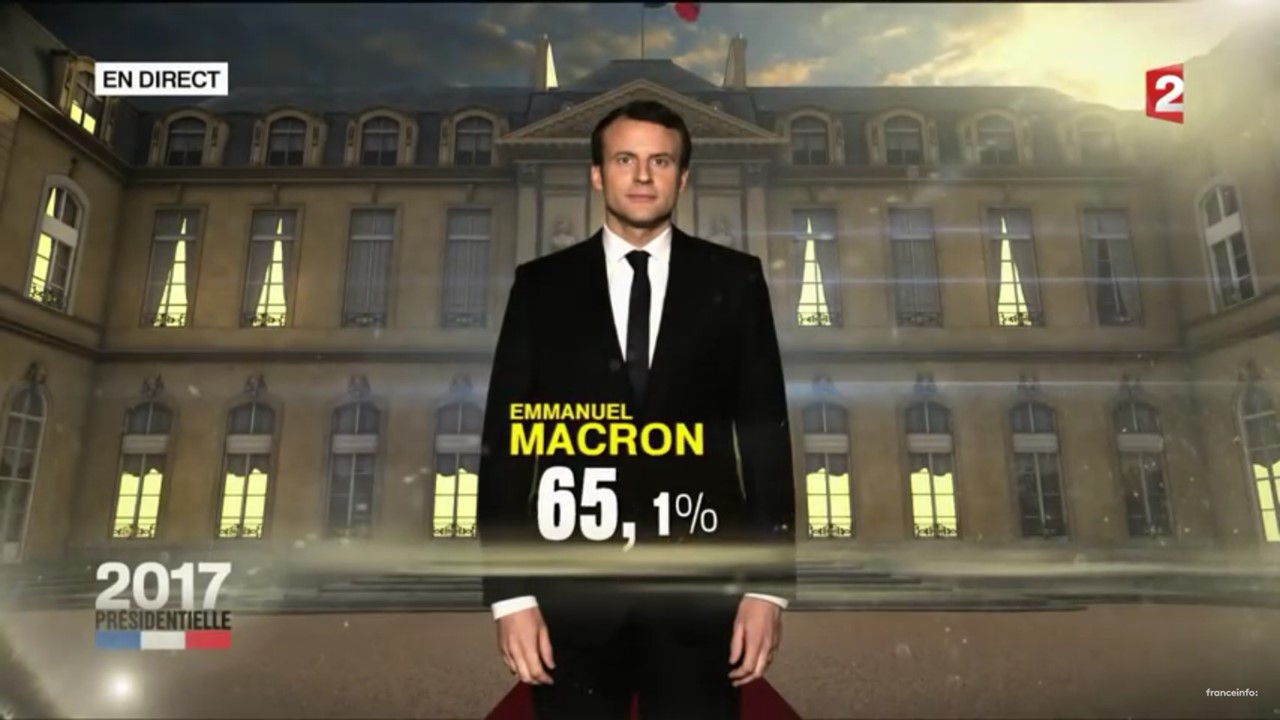 7 mai 2017, 20h, Macron est élu président - Capture d'écran France 2