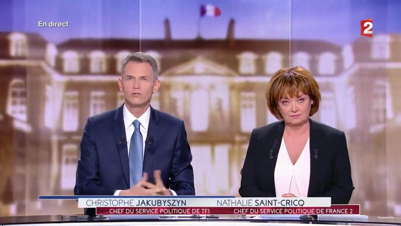 Les journalistes Christophe Jakubyszyn et Nathalie Saint-Cricq lors du débat de l'entre-deux-tours